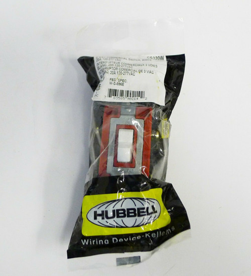 Hubbell Wiring Device 3 Way Commercial Switch in White CS320W NEW