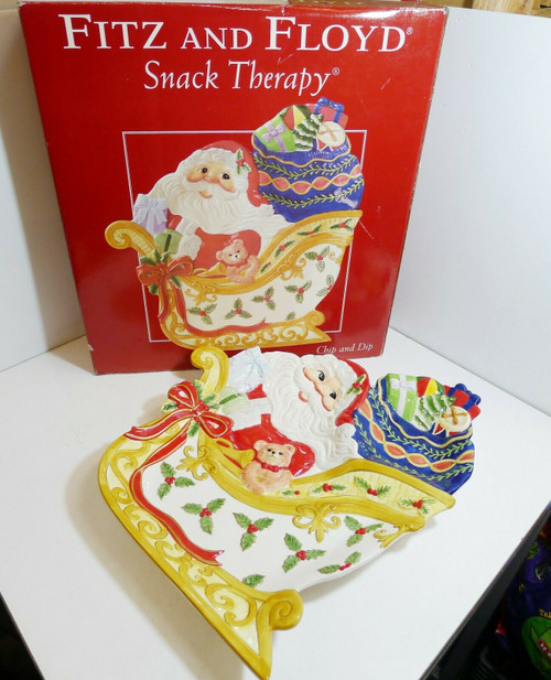 Fitz and Floyd Essentials Snack Therapy Chip and Dip Santa in Sleigh Tray