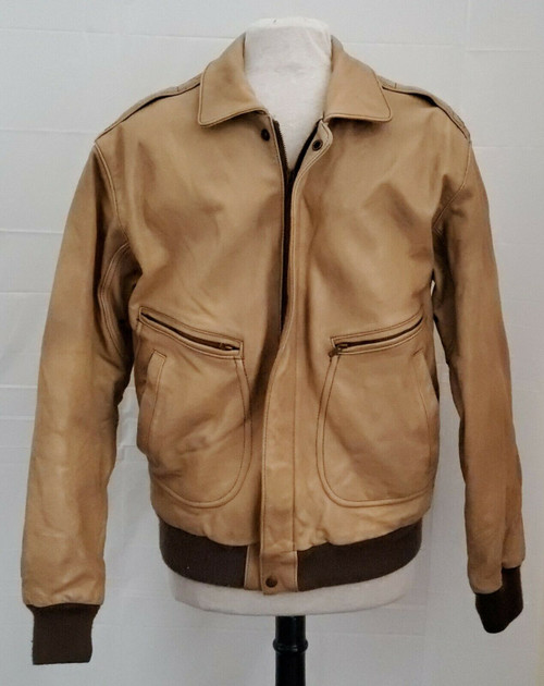 Le Tigre Brown Leather Bomber Style Jacket Coat Size 42L