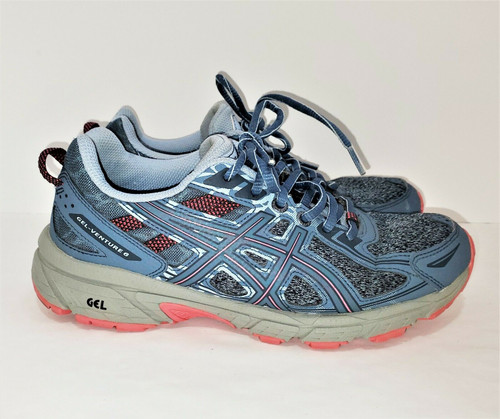 Asics Women's Steel Blue/Pink Gel Venture 6 MX Running Shoes Size 7.5 - 1012A504