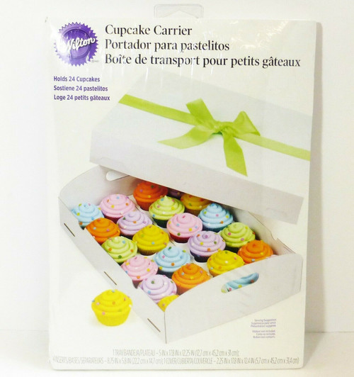 Wilton Cupcake Box Carrier in White 415-0729  Holds 24 Cupcakes  NEW-SEALED