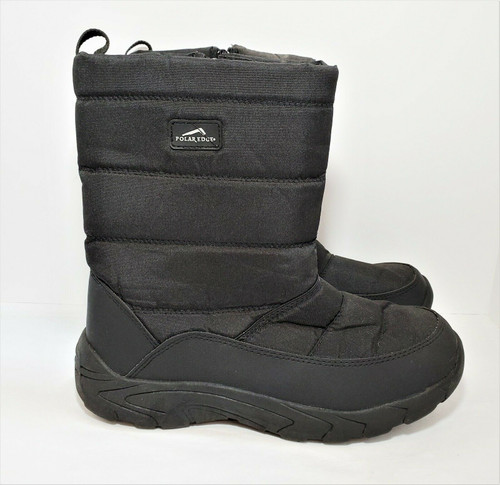Polar Edge Men's Black Insulated Snow Boots with Side Zipper Size 12