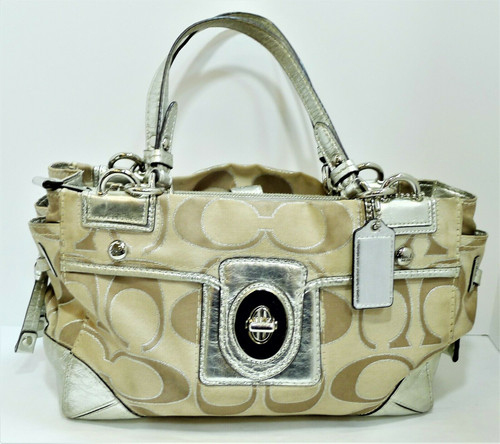 Coach 19760M Peyton Signature Sateen Metallic Carryall Purse - COA by Entrupy