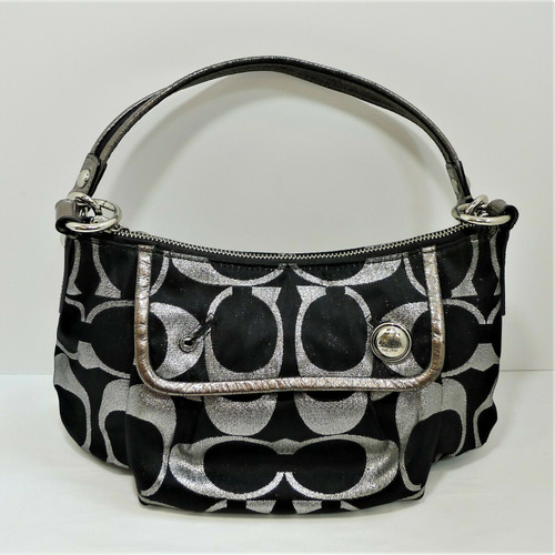 Coach 14438 Black/Silver Poppy Signature Purse - COA by Entrupy **MISSING BUTTON
