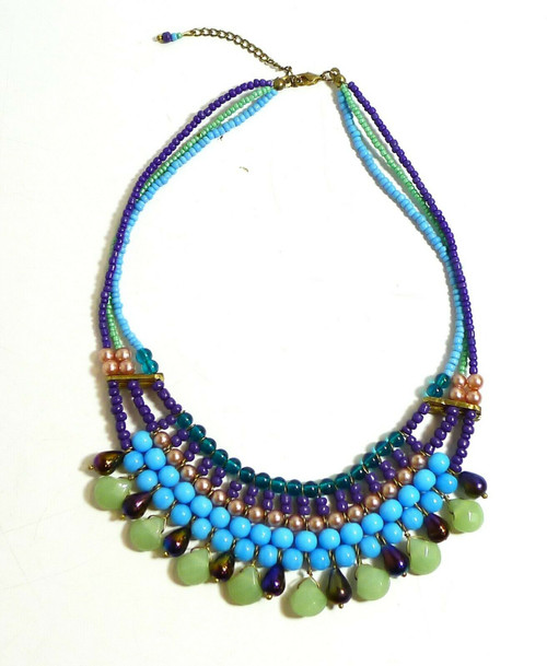 Vintage Multi-Color Bead Ball Choker Style Necklace
