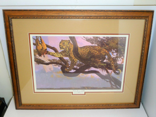"""Out on a Limb"" Leopard - Remington Game Art Collection Framed Print Vintage"