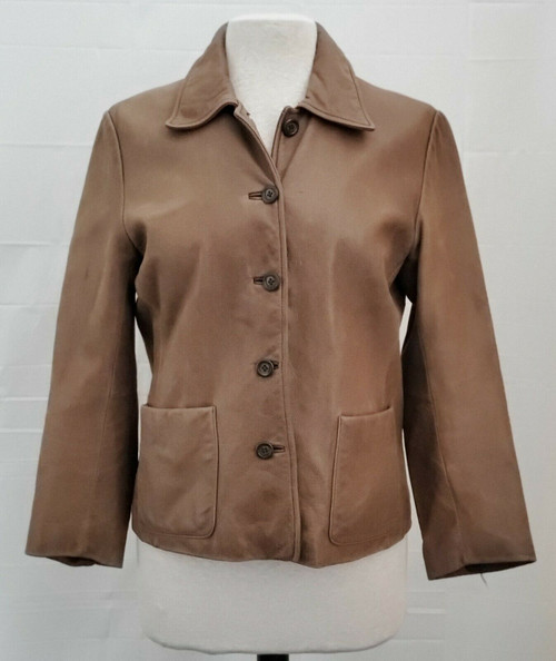 Eddie Bauer Women's Distressed Brown Leather Button Up Jacket Size SP Petite Sma