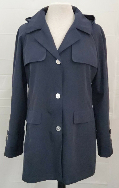Calvin Klein Women's Polyester 3-Button Removable Hood Long Jacket Size M Medium