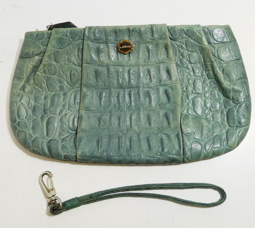 "Lodis Leather Embossed Croc Wristlet Clutch  5"" T x 8.75"" W x 1/2"" D."
