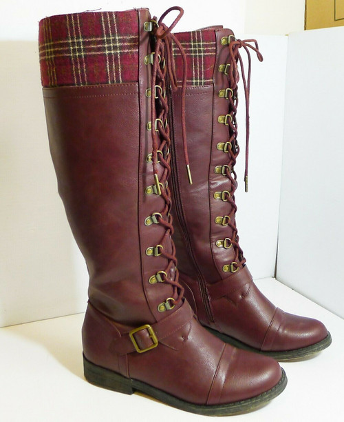 Just Fabulous Molly Women's Tall Boots in Burgundy  Size 7