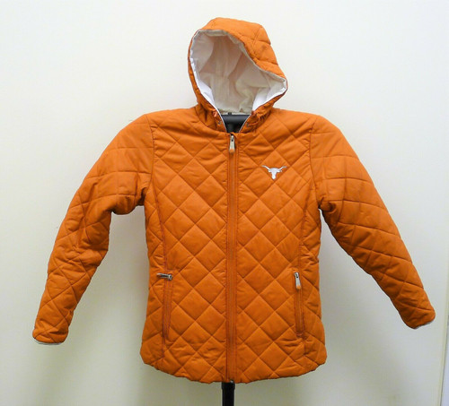Texas Longhorns Women's Nylon Quilted Hooded Jacket Size Small