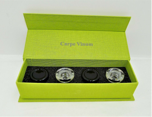 Carpe Vinum Bohemian Crystal Glass Wine Stoppers - Set of 4  17.5mm/18.5mm