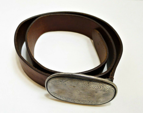 Ambercrombie & Fitch Brown Embossed Genuine Leather Belt with Silvertone Buckle