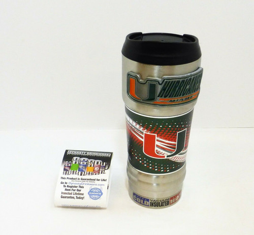 Miami Hurricanes 18oz. Stainless Steel Insulated Hot/Cold Beverage Mug NEW