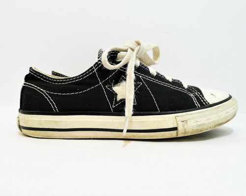 Converse Junior's Black with Star One Star Canvas Tennis Shoes Size 3