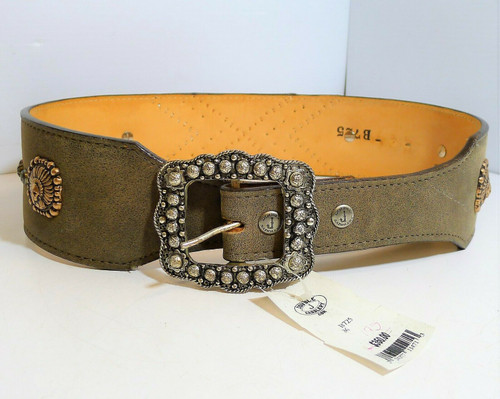 """Double """"J"""" Saddlery Women's Brown Bomber Belt with Indian Conchos Size 36 NWT"""