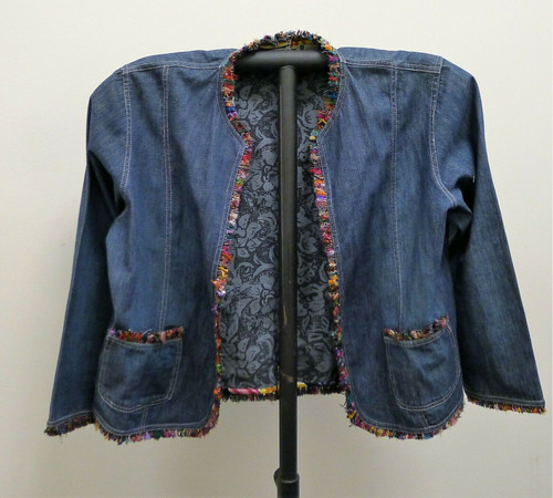 Chico's Design Women's Open Faced Jean Jacket With Colored Trim Size 2 RN79984