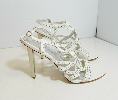 "Via Spiga Women's Strappy White with Silver 4"" High Heels Shoes Size 7.5 M"