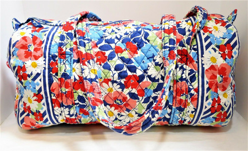 Vera Bradley Red White and Blue Summer Cottage Duffel Bag - Retired Print