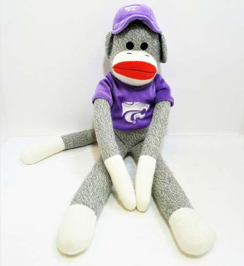 """21"""" Sock Monkey with Kansas State Wildcats Hat and Shirt"""
