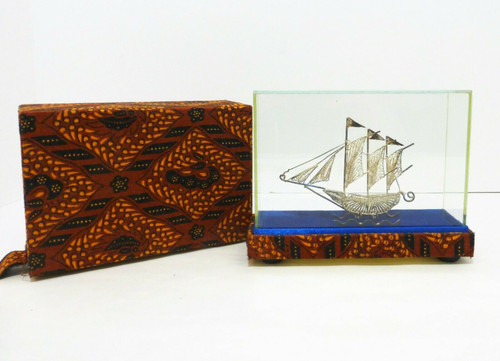 Filigree Silver Sailing Ship with Display Case