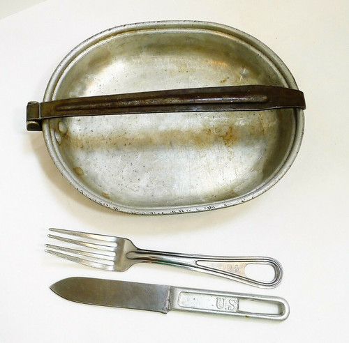 Vintage US Army Issued Fork, Knife and Bowl/Tray