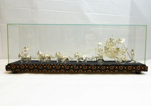 Filigree Silver Horse Carriage with Horses & Display Case *Some Parts Broke