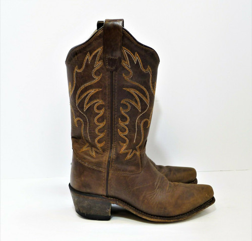 Old West Boy's Brown Fashion Stitched Snip Toe Cowboy Boots Size 12.5 D CF8234