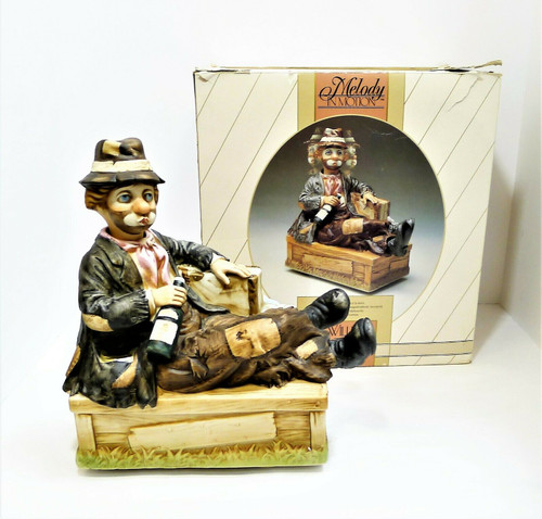 Vintage Waco Melody in Motion Willie the Hobo Movable Music Box - **NON-WORKING
