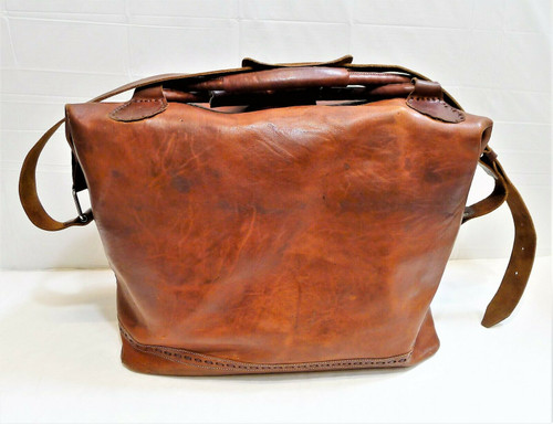 Large Brown Leather Weekend Luggage Travel Duffel Bag with Shoulder Strap