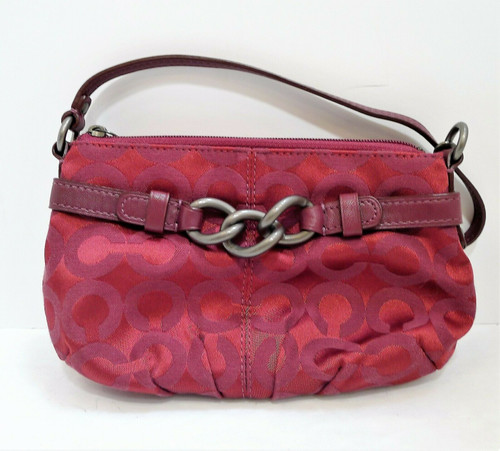 Coach Magenta Maroon Wristlet with Chain Signature Jacquard Fabric
