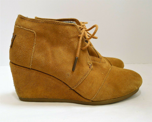 Toms Women's Brown Suede Lace Up Wedge Ankle Boots Size 7