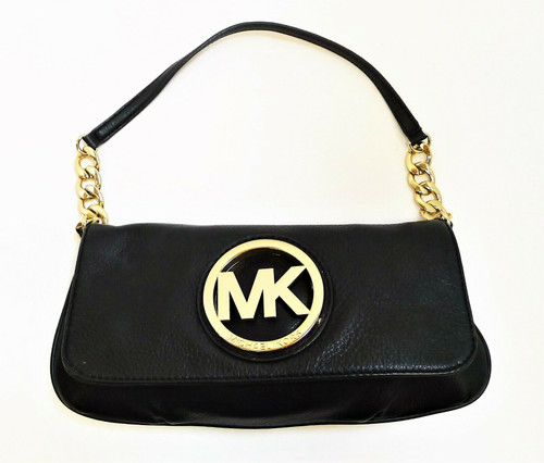 Michael Kors Black Clutch Purse with Gold Chain and Hardware