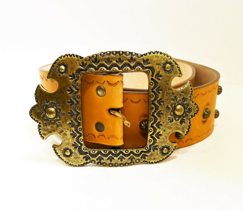 Tasha Polizzi Brown Leather Belt with Metal Accents Size L