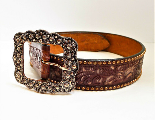 Double J Saddlery Women's Tooled Belt with Rose Tone Buckle and Accents Size 34