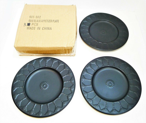 "CB2 Rani Black Appetizer Plate 8"" Round Set Of 3 501-902"