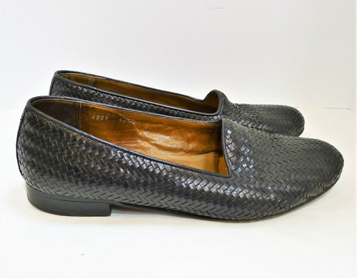 The Men's Store Bloomingdales Men's Black Woven Leather Dress Shoes Size 10.5