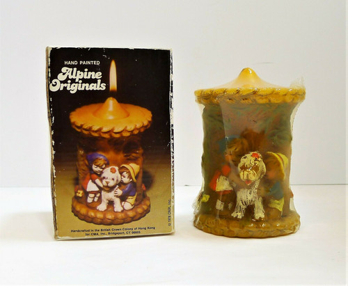 Vintage Hand Painted Alpine Originals Candle Kids & Dog 1978 - *CANDLE IS SEALED