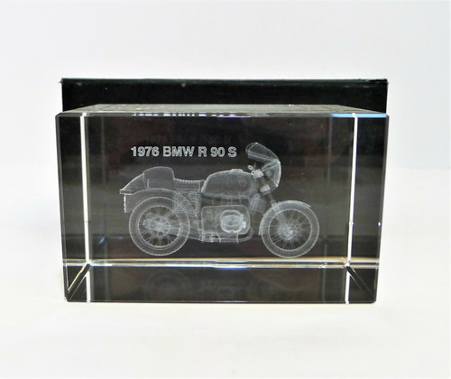 "Detailed Glass Bubblegram of a 1976 BMW R 90 S  - 2.25"" T x 4"" W x 2.25"" D"