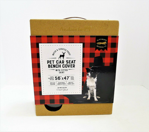 """Avalanche Black Pet Car Seat Bench Cover With Fitted Skirt 56"""" x 47"""" - NEW OPEN"""