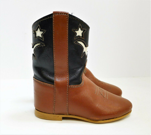 Brown and Black Infant Cowboy Boots Size 3 Made in India - **SCUFFS ON TOES