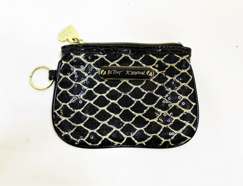 "Betsy Johnson Black Sequined Coin Purse 4.5"" x 6"""