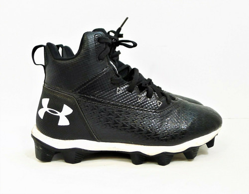 Under Armour Boy's Black Hammer Mid Rm Jr Football Shoes Cleats Size 3.5 Y