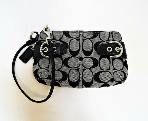 Coach Signature Black and Gray Wristlet