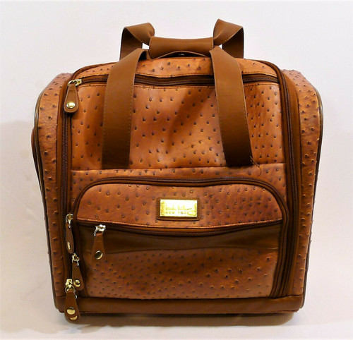Nicole Miller Brown PVC Rolling Carry On Bag Luggage