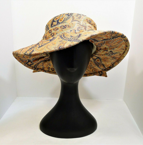 Terramina Apricot Pasley Design Church Hat with Bow