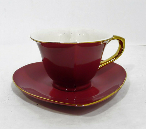 Classic Coffee and Tea Maroon Inside Out Heart Shaped Cup and Saucer