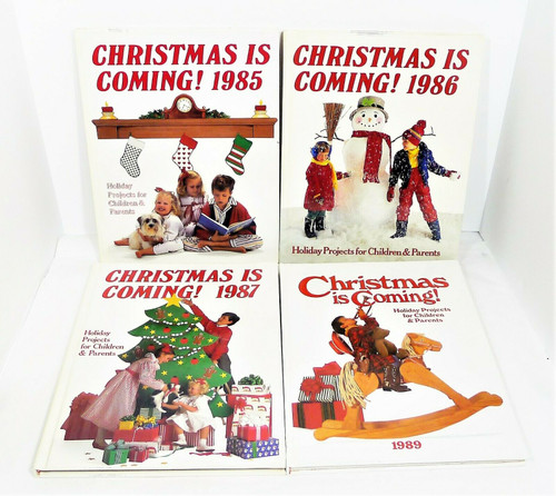"Set of 4 ""Christmas is Coming!"" Hardback Books - 1985, 1986, 1987 and 1989"