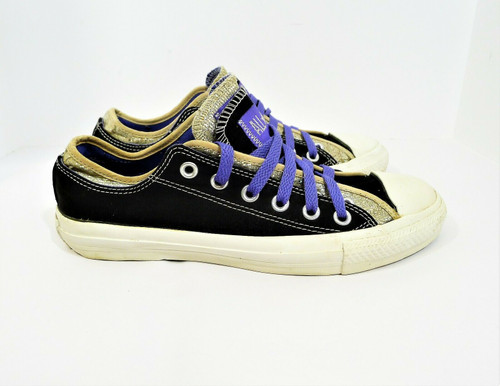 Converse Women's Black/Purple/Gold Chuck Taylor All Star Shoes Women's 8