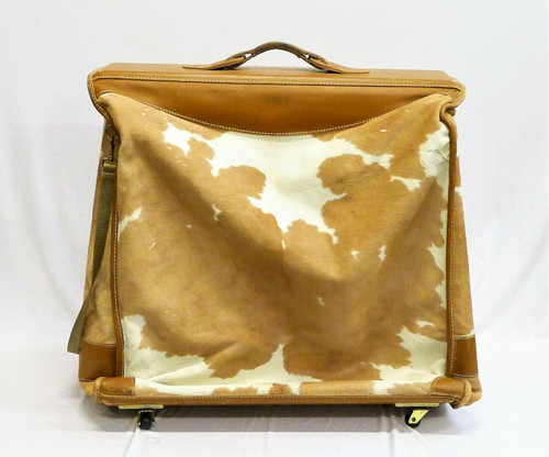 Brown/White Cowhide and Leather Rolling Garment Bag Luggage